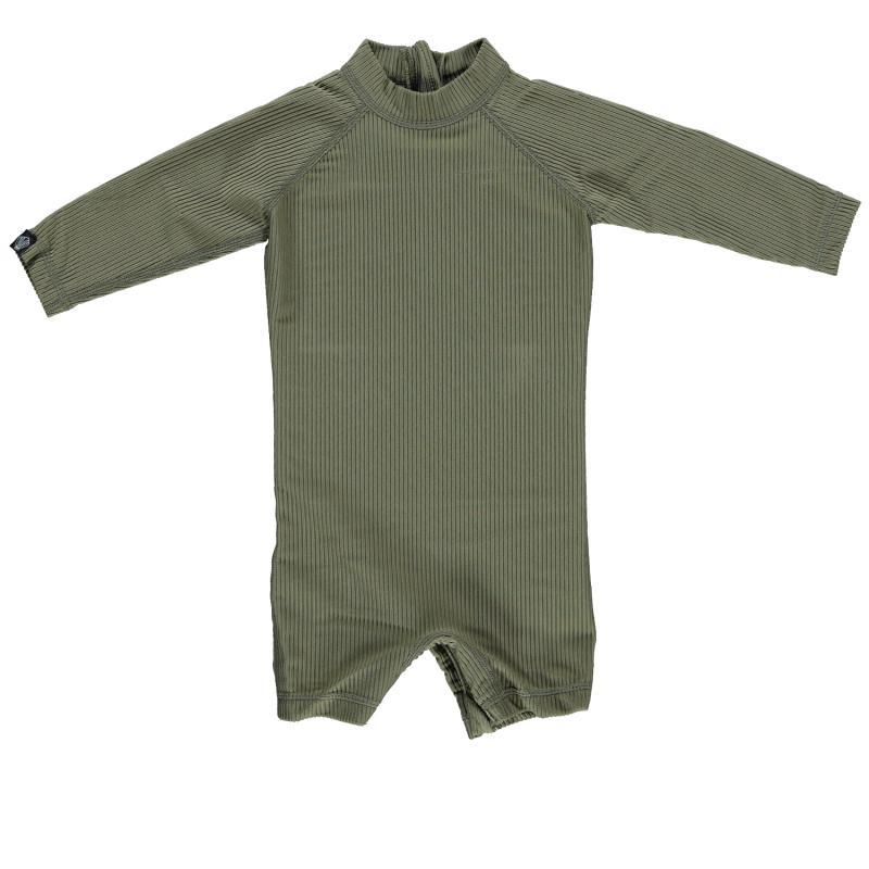 Image of Beach & Bandits baby suit med lange ærmer UPF 50+ - palm ribbed olive green (2018877)