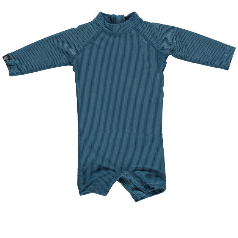 Image of Beach & Bandits baby suit med lange ærmer UPF 50+ - Ocean ribbed pacific blue (2019010)